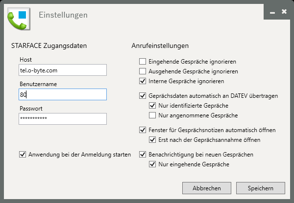 DATEV Client für STARFACE - Konfiguration