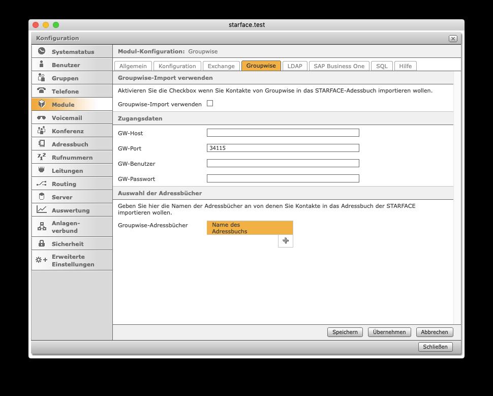 Adressbuch-Kontakt-Importer - Konfiguration Adressbuch-Import Groupwise