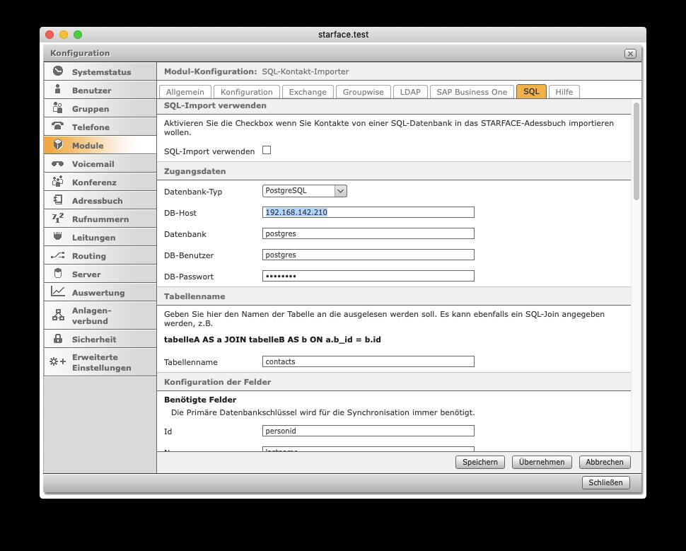 Adressbuch-Kontakt-Importer – Konfiguration Adressbuch-Import SQL (Datenbank-Verbindung)