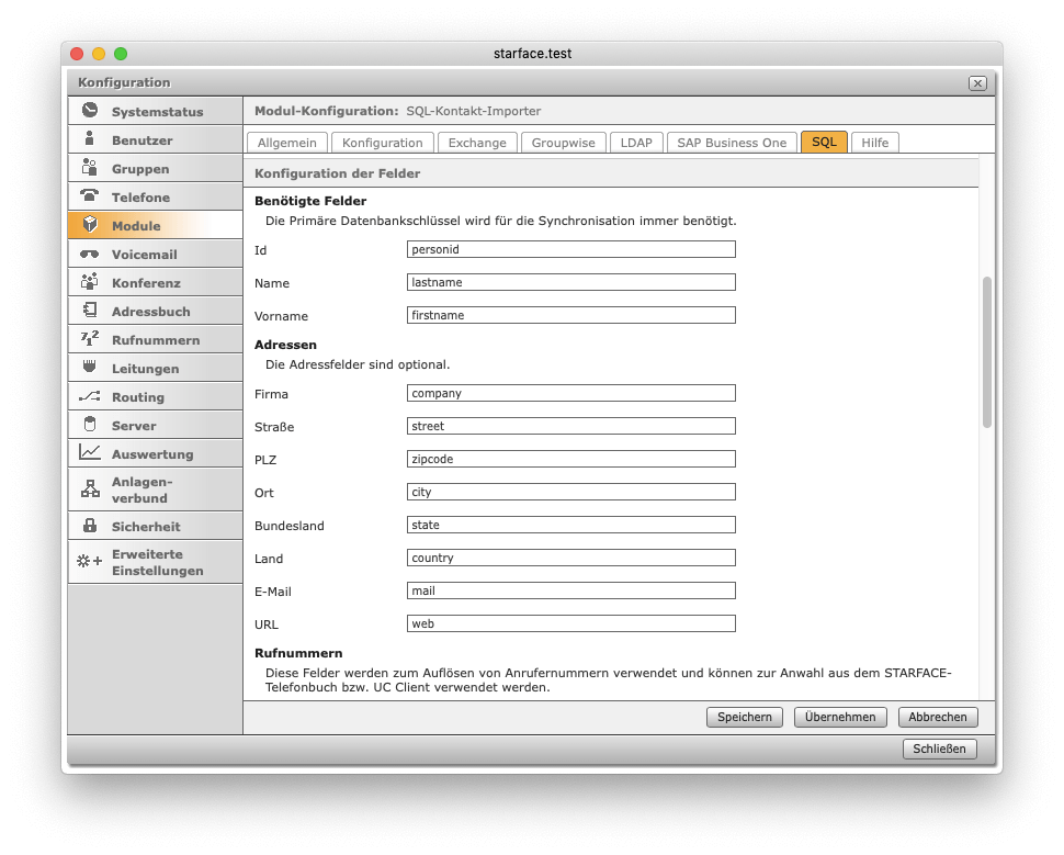 Adressbuch-Kontakt-Importer – Konfiguration Adressbuch-Import SQL (Datenbank-Spalten)