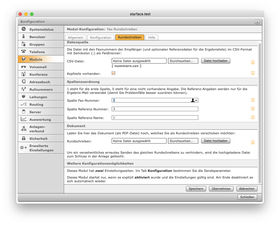 Fax-Rundschreiben - Anwendung