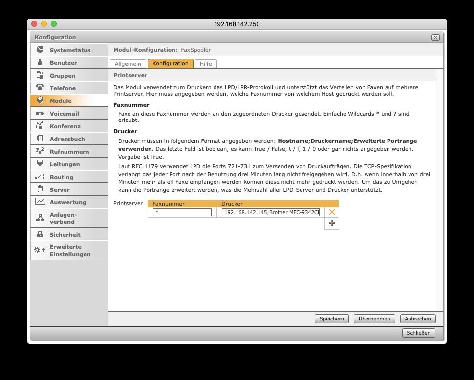 FaxSpooler - LPR-Konfiguration