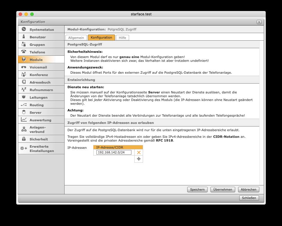 PostgreSQL-Zugriff - Konfiguration