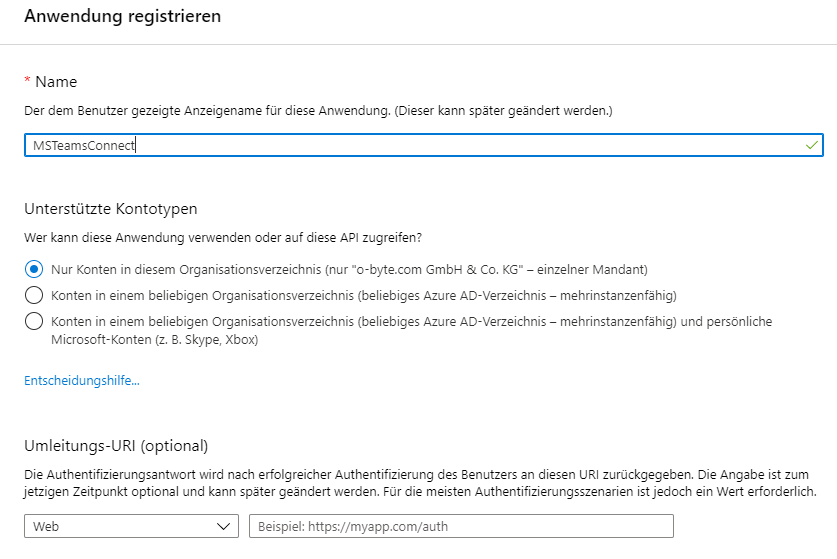 Teams Connect - Anwendung in Microsoft Azure Active Directory Portal registrieren