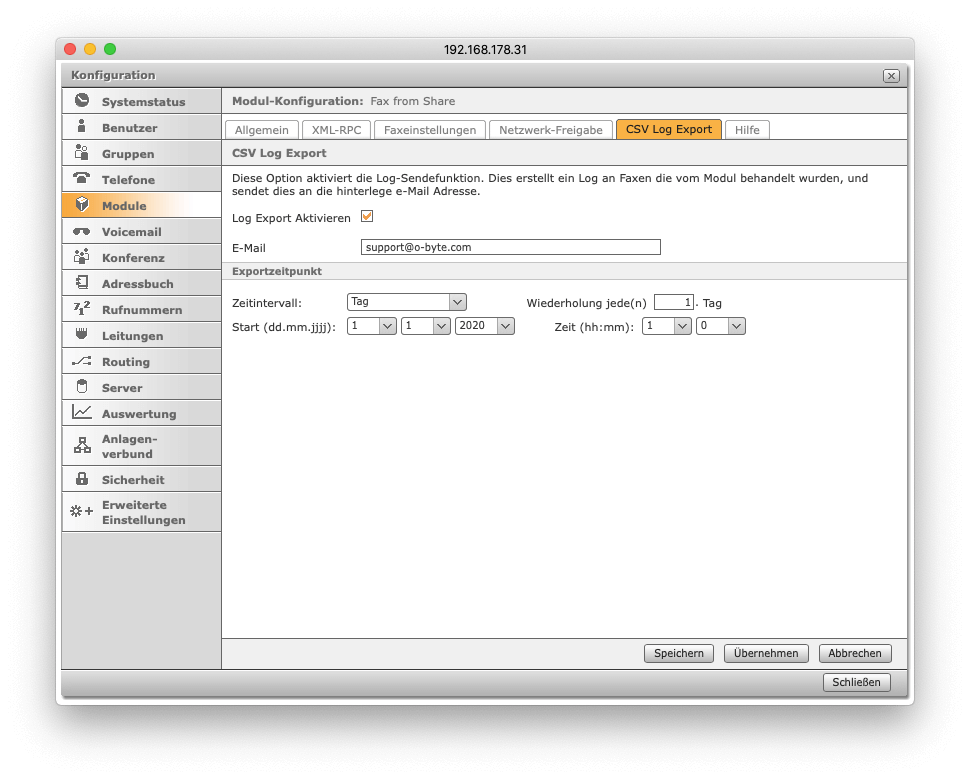 Fax from Share - CSV-Log Export
