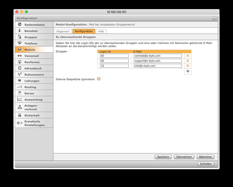 STARFACE Erweiterung: Mail bei verpasstem Gruppenanruf - Konfiguration