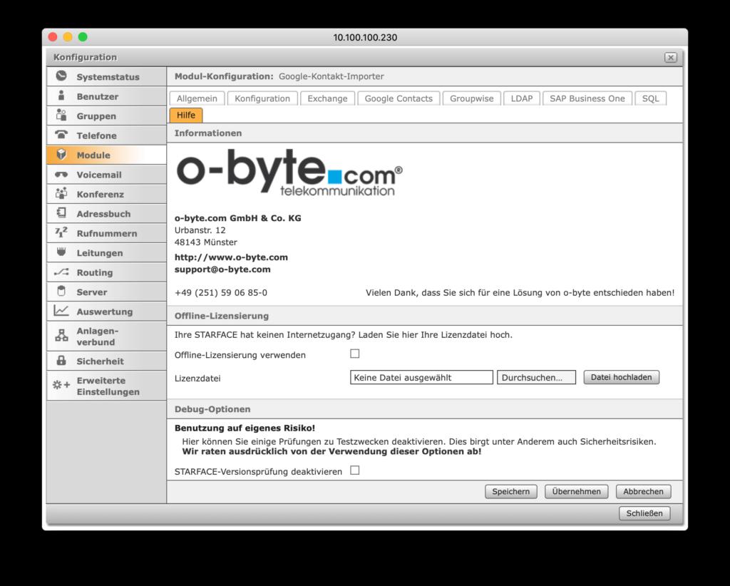 STARFACE Erweiterung - Offline-Lizenzierung